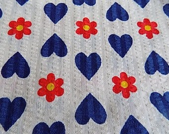 Vintage Cotton Heart and Flower Floral Fabric - 1.25 yards