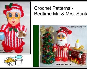 Bedtime Mr. & Mrs. Santa Crochet Patterns, crochet Christmas tree, crochet chimney, crochet candle