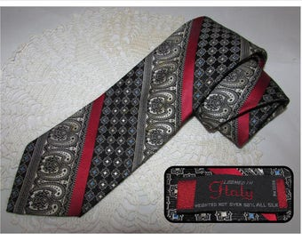 Vintage 100% Italian Silk Necktie Tie, Loomed in Italy, Black, White, Red, Mens tie