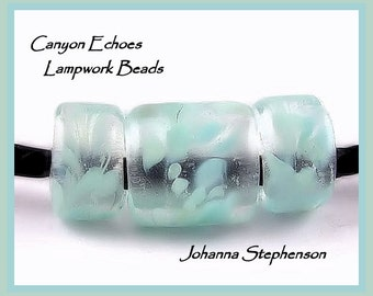 BIG HOLE BEADS Petite Aqua Whispers Canyon Echoes Lampwork Beads