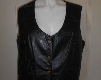 Vintage 70's leather  snap button up Vest       black    Harely Davidson    womens women ladies clothing clothes