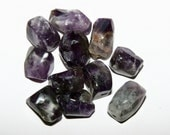 Amethyst Nugget Beads Medium Size Dark Natural 11 Pieces Various Sizes