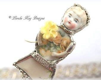 Georgia Yellow Roses Doll Brooch Ornament Broken China Art Doll Flowers Mixed Media Soldered Assemblage Art Girl Broach