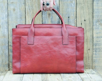 Leather briefcase, Women's Briefcase, Leather Bag, Laptop Bag, Leather Travel Bag, Large Briefcase, Red Leather Briefcase