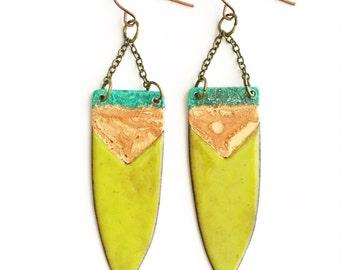 Chartreuse Enamel Earrings