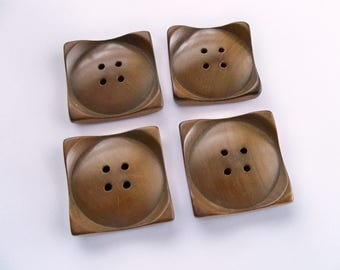 Vintage Square Wood Buttons - Extra Large - Excellent Condition