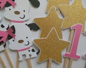 1st Birthday Puppy Dog Cupcake Toppers with Stars - White, Black and Pink - Girl Birthday Party Decorations - Set of 12