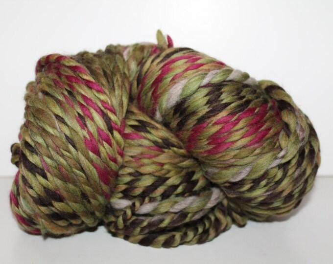 Handspun Merino Wool Yarn.  2ply Bulky Weight. Self Striping. Huge Skein. 1lb 10oz. 330 yards