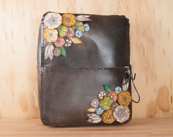 Leather Backpack - Handmade Mini Backpack Purse with Flowers  and Zip Closure - Antique Black, Pink, Green - Flower Garden Pattern