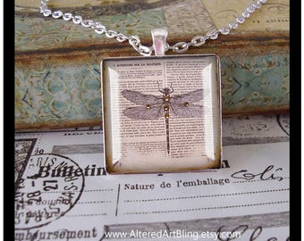 Dragonfly pendant, altered art pendant,gift boxed, illustration jewelry,french inspired,crown, Mother's Day gifts, graduation gifts,wings