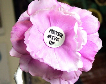 Never Give Up Flower Hair Clip in Pink