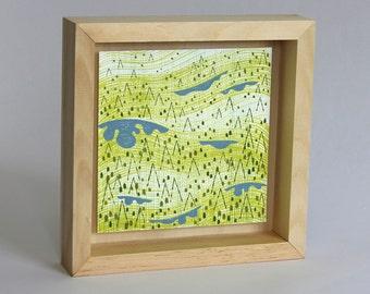 "Ridge, framed painting, 8""x8"""