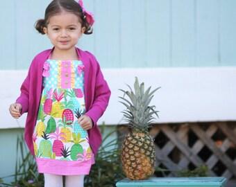 Girls Beach Dress - Girls Dress - Vacation Dress-  Pineapple Dress - Girls Pineapple Dress - Beach Outfit - Girls Summer Outfit - Pineapple