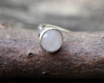 Rainbow Moonstone Nose Ring ... tiny 3mm rainbow moonstone nose stud