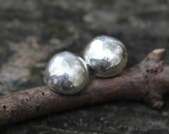 20% OFF TODAY Sterling Silver Stud Earrings ... organic shape 10mm sterling post earrings