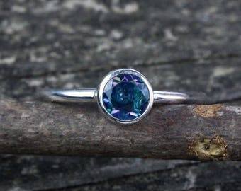 Rainbow topaz  sterling silver ring