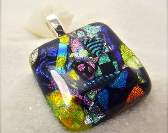 Dichroic glass necklace, Modern jewelry, rainbow dichroic pendant, fused glass art, artisan designs, handmade jewelry, rainbow necklace