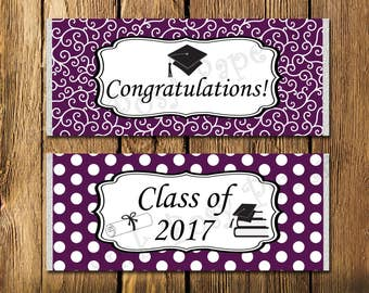Purple and White Graduation Large Candy Bar Wrappers - Instant Download