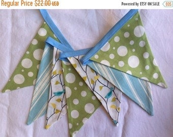 ENTIRE Store On SALE Baby Nursery Decoration, Fabric Bunting Banner 7 Medium Flags, Ready to Ship. Gender Neutral Earthy Theme. Birds and Tr