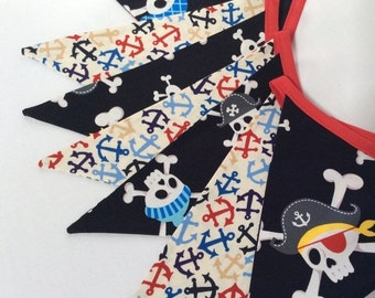FLASH SALE 40 Percent Off RESERVED Pirate Theme Boy's Room Decor Fabric Bunting Banner, Garland Bunting for Parties, Bridal Decor, Kids Room