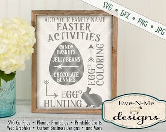 Easter SVG - You Personalize with Your Family Name - Easter Activities SVG - Easter Subway Directional SVG Commercial Use svg dfx, png, jpg