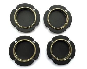 Japanese Door Pulls Sliding Door Pulls - Vintage Door Pulls - Pocket Door Pulls - Hearts Set of 4 Black And Gold #2