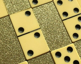 Celluloid and Gold Glitter Lucite Dominoes Set