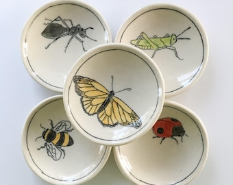 Insect Dishes | Bee Jewelry Dish | Honey Bee plate |Porcelain Catchall | Olive Oil Plate | Ring dish | Tea saucer | Bits and bobs