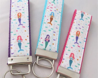 KeyFob Key Chain Wristlet - Mini Mermaids - Fabric Keychain