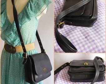 Vintage Coach Messenger Purse Leather  / Small size Shoulder Bag Blue-Black /  / Cross Body Strap Phone Pocket