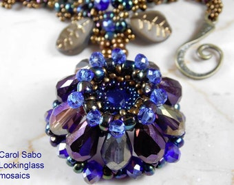 Coneflower BEADWEAVING crystal and seed bead necklace  in purple and blue with metallic aged copper or bronze