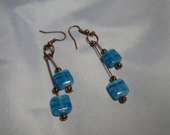 Boho Chic Bronze and Blue Earrings
