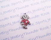 3 WISCONSIN BADGERS CHARMS Antique Silver Plated with red enamel Bucky University logo College Pendants