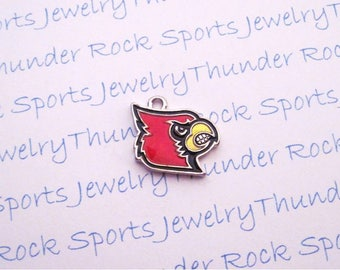3 LOUISVILLE CARDINALS CHARMS Antique Silver Plated with red enamel Cards University logo College Pendants