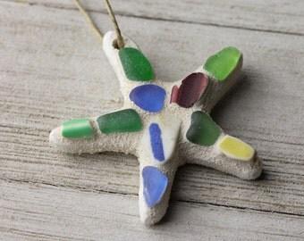 Sea glass starfish ornament - Starfish ornament - Ornament exchange - Christmas gift - Multicolor sea glass ornament - Sea glass starfish