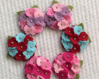 New Mixed Colors Wool Felt Mini Hydrangeas