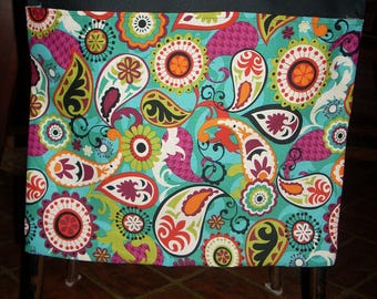 24 CHAIR POCKETS Durable Cotton  colorful paisley  with black, purple and turq. backers 8 each