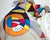 Handpainted Silk Scarf. Kandinsky Style Silk Scarf.Hand painted Silk Shawl.Wedding. Bridesmaids.Giveaways. Silk Art.Woman. 18x71in(180x45cm)