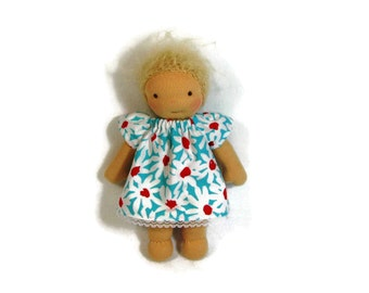 8 inch Waldorf size turquoise, white and red daisy dress, small doll dress