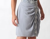 Grey pencil skirt, Light grey skirt, High waisted light grey skirt, Womens grey pleated skirt, Womens clothing, Womens skirts, MALAM
