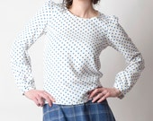White and blue shirt, Polka dot blouse, White cotton blouse, White top with blue dots, Womens polka dot shirt with long sleeves, MALAM
