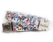 Floral Dog Collar, Flora in Periwinkle