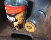 Sanka glass coffee jar Yuban coffee tin orange and brown