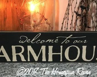 Welcome to our Farmhouse Handpainted Primitive Wood SIgn Wall hanging plaque Country