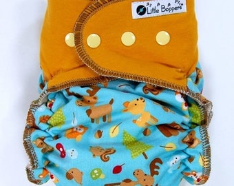 Custom Cloth Diaper or Cover Made to Order - Forest Friends (Woven) with Goldenrod Cotton/Lycra Jersey Wings - Nappy or Wrap