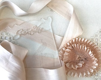 """Pleated Beautiful Champagne color 100% Silk Ribbon 1-1/4"""" wide 1 Meter long. #02, great for flowers and doll costuming"""