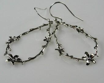 Flowering Vine Earrings Sterling Silver Teardrop