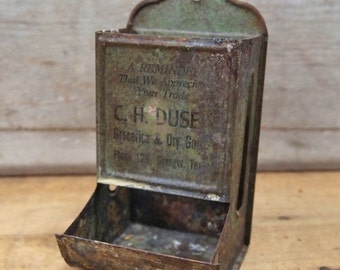 Free Shipping  Unique vintage Match holder Metal Advertising  Granger Texas C. H. Duse Groceries Dry goods