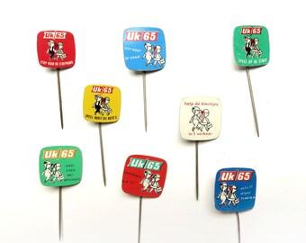 8 Vintage 1960s Advertising Stick Pins - Childrens Traffic Safety Uk 65 - Metal Lapel Badge Lot