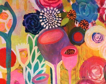 Hallelujia print flowers, abstract, garden colorful, mixed media,